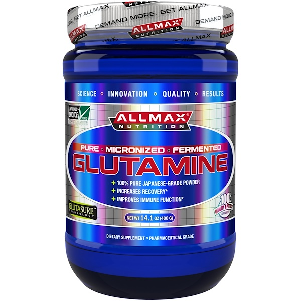 ALLMAX Nutrition, 100% Pure Micronized Glutamine, Gluten-Free + Vegan + Kosher Certified, 14.1 oz (400 g)
