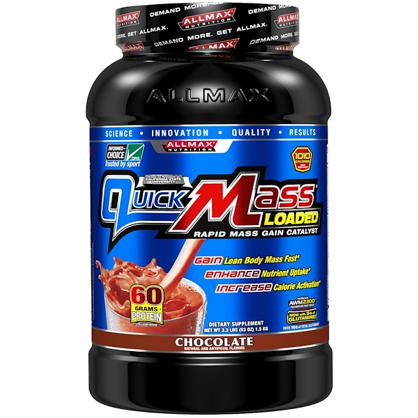ALLMAX Nutrition, QuickMass Loaded, Rapid Mass Gain Catalyst, Chocolate, 3.3 lbs (1.5 kg) (Discontinued Item)
