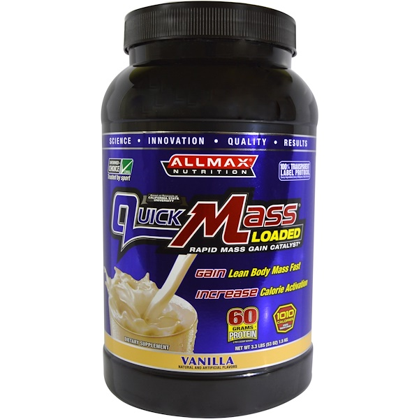 ALLMAX Nutrition, QuickMass Loaded, Rapid Mass Gain Catalyst, Vanilla, 3.3 lbs (1.5 kg) (Discontinued Item)