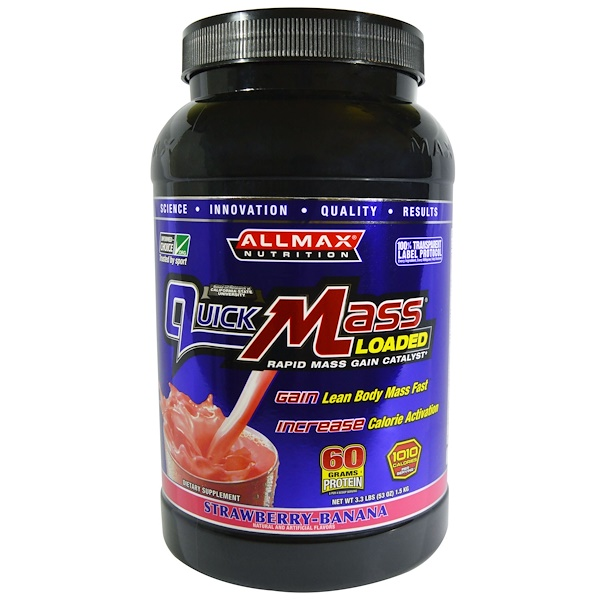 ALLMAX Nutrition, Quick Mass, Loaded, Rapid Mass Gain Catalyst, Strawberry-Banana, 3.3 lbs (1.5 kg) (Discontinued Item)