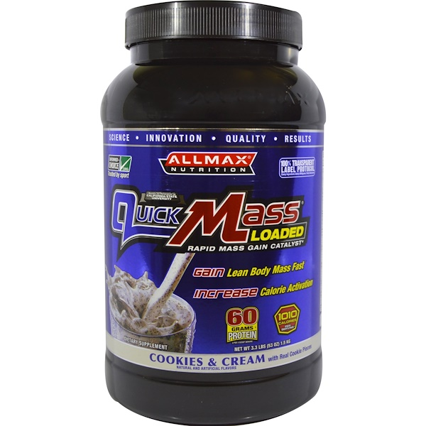 ALLMAX Nutrition, Quick Mass Loaded, Rapid Mass Gain Catalyst, Cookies & Cream, 3.3 lbs (1.5 kg) (Discontinued Item)