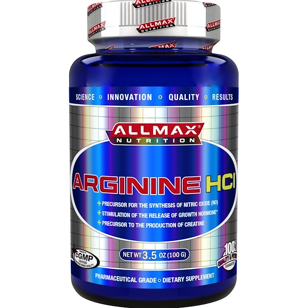ALLMAX Nutrition, 100%純精氨酸HCI 最大效力 + 吸收, 3、5 oz (100 g)