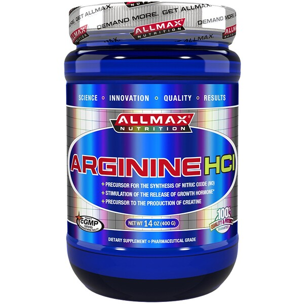 ALLMAX Nutrition, Arginine HCI Maximum Strength, Gluten-Free + Vegan + Kosher Certified, 5000 mg, 14 oz (400 g)