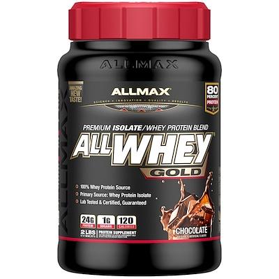 Фото - AllWhey Gold, 100 % сывороточный белок + изолят сывороточного белка премиум-качества, со вкусом шоколада, 907 г (2 фунта) gold standard 100 % whey со вкусом соленой карамели 819 г 1 81 фунта