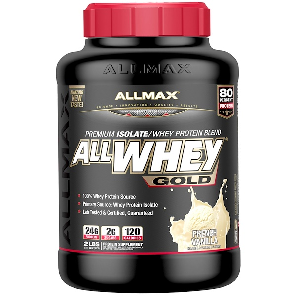 ALLMAX Nutrition, AllWhey Gold, 100% Whey Protein + Premium Whey Protein Isolate, French Vanilla, 2 lbs. (907 g) (Discontinued Item)