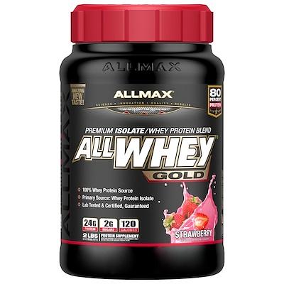 Фото - AllWhey Gold, 100% сывороточный протеин + изолят сывороточного протеина премиального качества, со вкусом клубники, 907 г (2 фунта) gold standard 100 % whey со вкусом соленой карамели 819 г 1 81 фунта