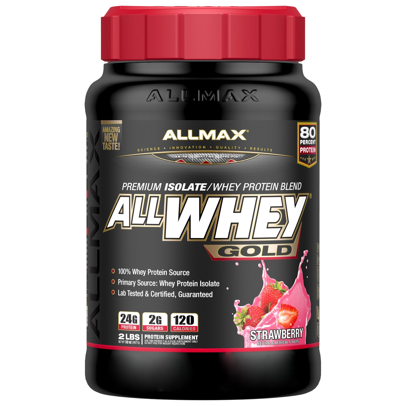 ALLMAX Nutrition, AllWhey Gold, 100% сывороточный протеин + премиальный изолят сывороточного протеина, клубника, 2 фунта (907 г)