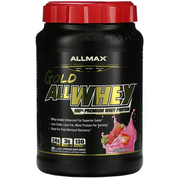 AllWhey Gold, 100% Premium Whey Protein, Strawberry, 2 lbs (907 g)
