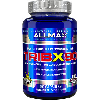ALLMAX Nutrition, TribX90, Ultra-Concentrated Bulgarian Tribulus, 90% Furostanolic Saponins, 750 mg, 90 Capsules
