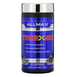 ALLMAX Nutrition, TribX90,超级浓缩保加利亚蒺藜,90% 呋喃甾醇皂苷,750 毫克,90 粒胶囊