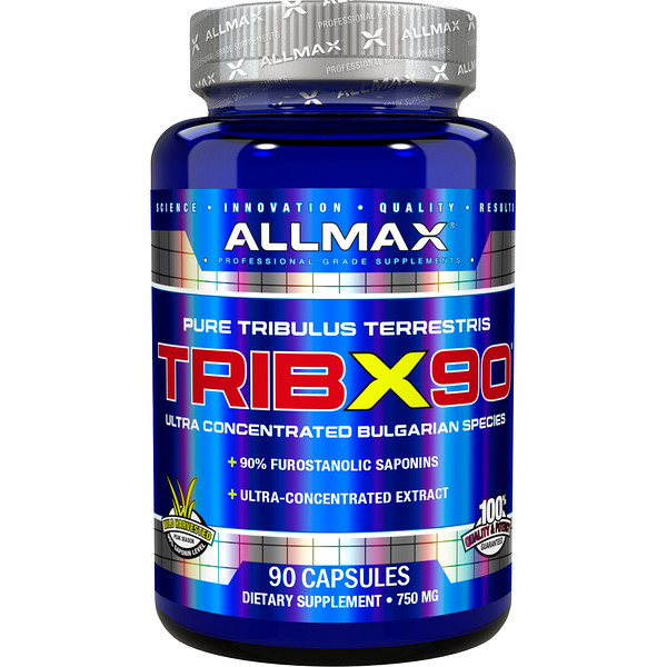 TribX90, Ultra-Concentrated Bulgarian Tribulus, 90% Furostanolic Saponins, 750 mg, 90 Capsules