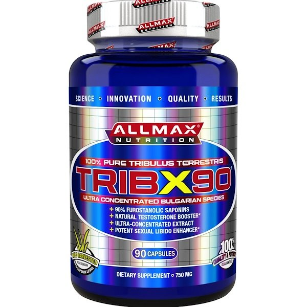 ALLMAX Nutrition, TribX90, 100% Pure Tribulus Terrestris 2X Potency, 750 mg, 90 Capsules