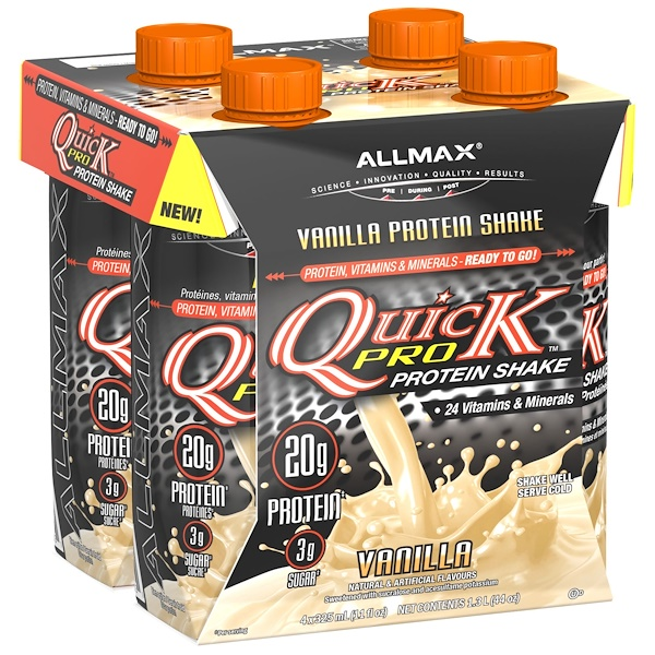 ALLMAX Nutrition, Quickpro, Protein Shake, Vanilla, 4 Pack, 11 fl oz (325 ml) Each (Discontinued Item)