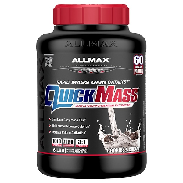 ALLMAX Nutrition, QuickMass, Weight Gainer, Rapid Mass Gain Catalyst, Cookies & Cream, 6 lbs (2.72 kg)