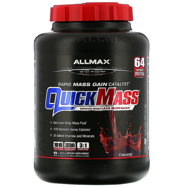 "ALLMAX Nutrition, QuickMass, Rapid Mass Gain Catalyst, שוקולד, 2.72 ק""ג (6 lbs)"