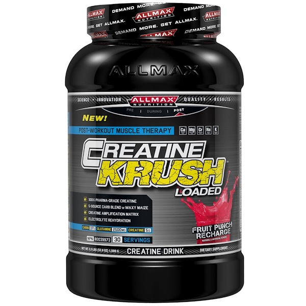 ALLMAX Nutrition, Creatine Krush Loaded, 100% Pharma-Grade Creatine + L-Glutamine + Electrolyte Rehydration, Fruit Punch, 3.3 lbs (1500 g) (Discontinued Item)