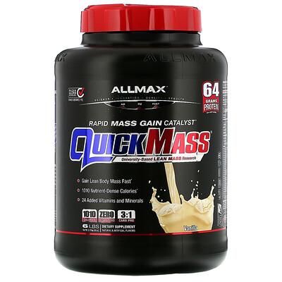 ALLMAX Nutrition QuickMass, Weight Gainer, Rapid Mass Gain Catalyst, Vanilla, 6 lbs (2.72 kg)