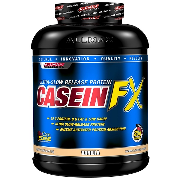 ALLMAX Nutrition, CaseinFX, Ultra-Slow Release Protein, Vanilla, 5 lbs (2.27 kg) (Discontinued Item)