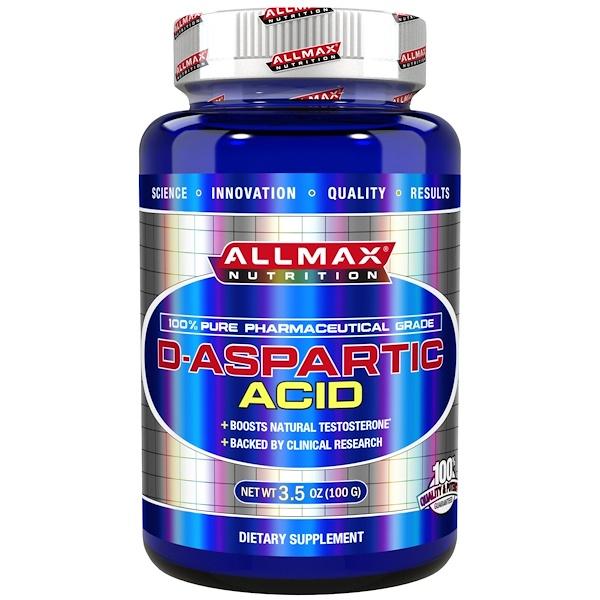 ALLMAX Nutrition, 100% Pure Pharmaceutical Grade, D-Aspartic Acid, 3.5 oz (100 g)