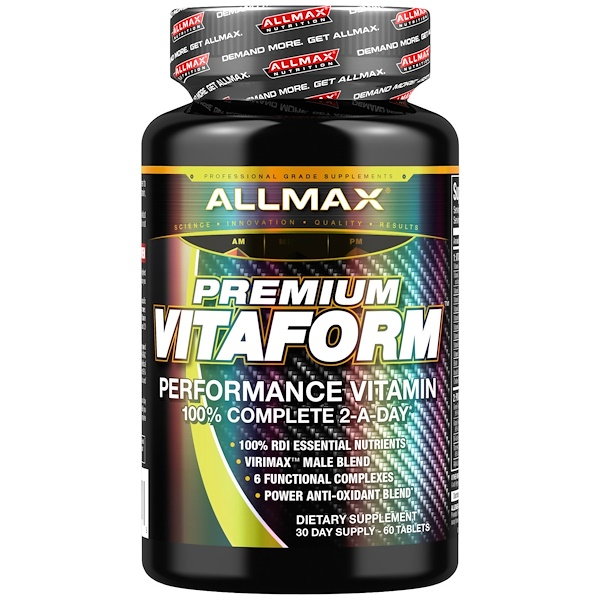 ALLMAX Nutrition, プレミアム・ビタフォーム、パフォーマンス・マルチビタミン、30日間の男性用マルチビタミン、60錠