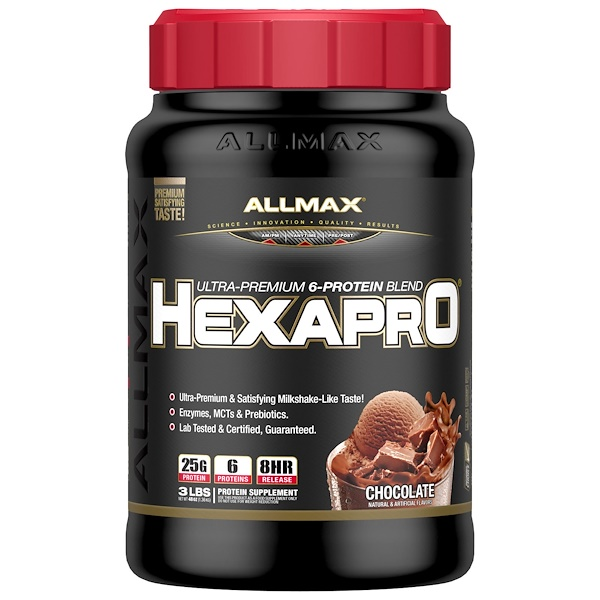 ALLMAX Nutrition, Hexapro, Ultra-Premium Protein + MCT & Coconut Oil, Chocolate, 3 lbs (1.36 kg) (Discontinued Item)