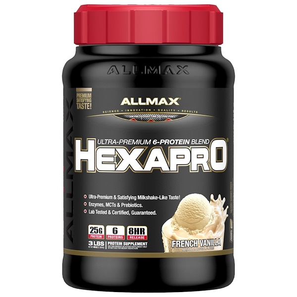 ALLMAX Nutrition, Hexapro, Ultra-Premium Protein + MCT & Coconut Oil, French Vanilla, 3 lbs (1、36 kg)