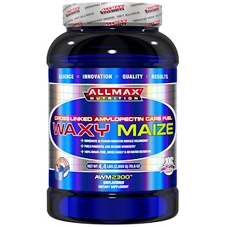 ALLMAX Nutrition, Waxy Maize, Cross-Linked Amylopectin Carb Fuel, Unflavored, 4.4 lbs (2,000 g)