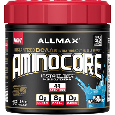 Фото - AMINOCORE, инстантизированные аминокислоты BCAA, во вкусом малины, 462г (1,02фунта) myobuild 4x amino bcaa взрывной вкус фруктового пунша 332г 11 71фунта