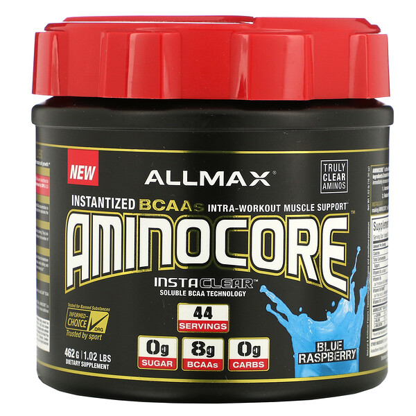 ALLMAX Nutrition, AMINOCORE, Instantized BCAAs Intra-Workout Muscle Support, Blue Raspberry, 1.02 lbs (462 g) (Discontinued Item)