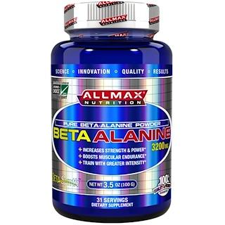 ALLMAX Nutrition, 100 % beta-alanina pura de máxima potencia y absorción, 3200 mg, 3.5 oz (100 g)