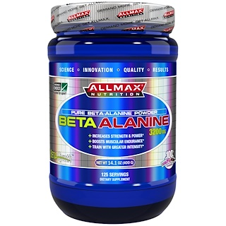 ALLMAX Nutrition, 100% Pure Beta-Alanine Maximum Strength + Absorption, 3200 mg, 14.1 oz (400 g)