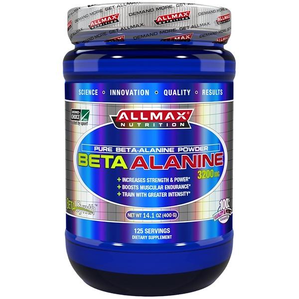 ALLMAX Nutrition, 100% Pure Beta-Alanine Maximum Strength + Absorption, 3200 mg, 14.1 oz (400 g)