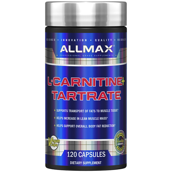 ALLMAX Nutrition, L-Carnitine L-Tartrate + Vitamin B5, 1000 mg, 120 Vegan Capsules