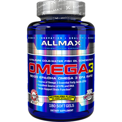 Omega-3 Fish Oil, Ultra-Pure Cold-Water 180 Softgels