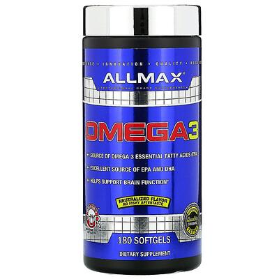 ALLMAX Nutrition рыбий жир с омега-3 кислотами, сверхчистый рыбий жир из холодноводной рыбы, 180 мягких желатиновых капсул