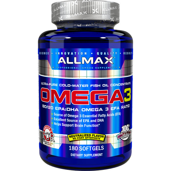 ALLMAX Nutrition, Omega-3, Ultra-Pure Cold-Water Fish Oil Concentrate, 180 Softgels