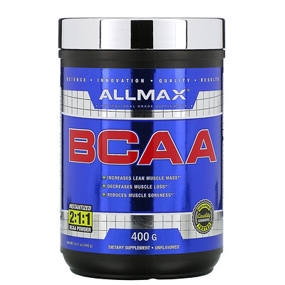 Купить ALLMAX Nutrition BCAA, быстрорастворимый продукт, соотношение 2:1:1, неароматизированный порошок, 400 г