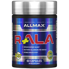 ALLMAX Nutrition, R+ALA, R-Alpha Lipoic Acid Yielding 125 mg of Active R (+) ALA Isomer, 150 mg, 60 Vegan Capsules