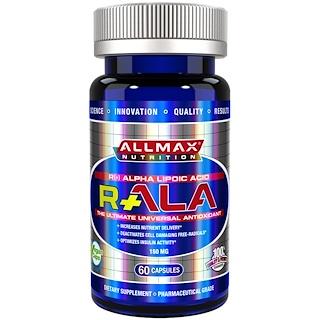 ALLMAX Nutrition, R+ ácido alfa lipoico (R- ácido alfa lipoico de máxima resistencia), 150 mg, 60 cápsulas vegetales