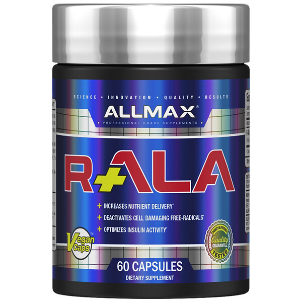 ALLMAX Nutrition, R+ALA, R-Alpha Lipoic Acid Yielding 125 mg of Active R (+) ALA Isomer, 150 mg, 60 Vegan Capsules