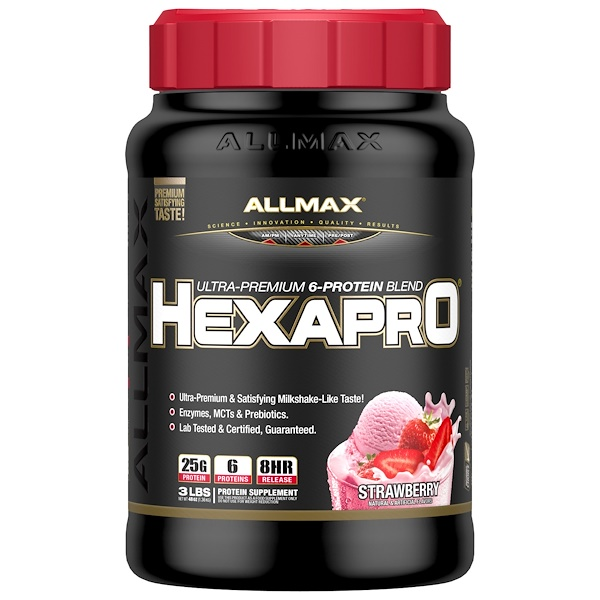 ALLMAX Nutrition, Hexapro, Ultra-Premium Protein + MCT & Coconut Oil, Strawberry, 3 lbs (1.36 g) (Discontinued Item)