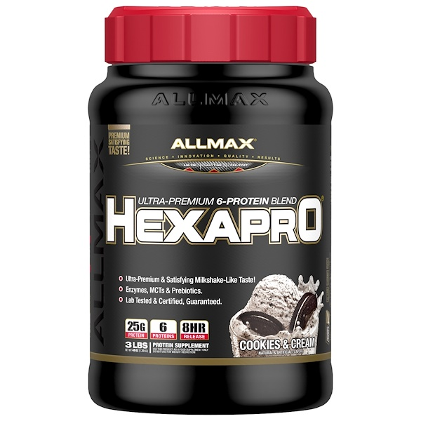 ALLMAX Nutrition, Hexapro, Ultra-Premium Protein + MCT & Coconut Oil, Cookies & Cream, 3 lbs (1.36 kg) (Discontinued Item)