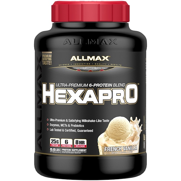 ALLMAX Nutrition, Hexapro, Ultra-Premium Protein + MCT & Coconut Oil, French Vanilla, 5.5 lbs (2.5 kg) (Discontinued Item)
