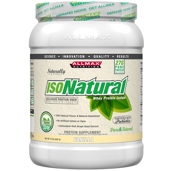 ALLMAX Nutrition, IsoNatural, 100% Ultra-Pure Natural Whey Protein Isolate (WPI90), Vanilla, 15 oz (425 g) (Discontinued Item)