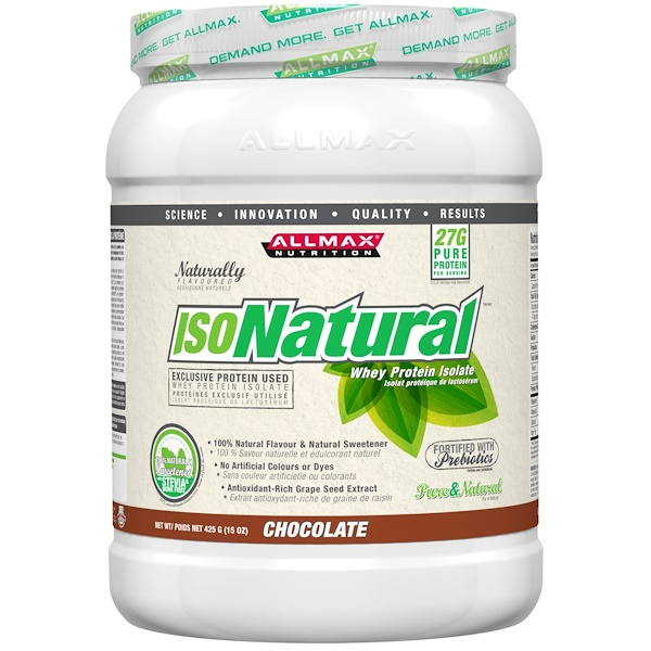ALLMAX Nutrition, IsoNatural, 100% Ultra-Pure Natural Whey Protein Isolate (WPI90), Chocolate, 15 oz (425 g) (Discontinued Item)