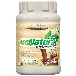 ALLMAX Nutrition, IsoNatural、100% ウルトラピュアナチュラルホエイプロテインアイソレート、チョコレート、2ポンド (907 g)