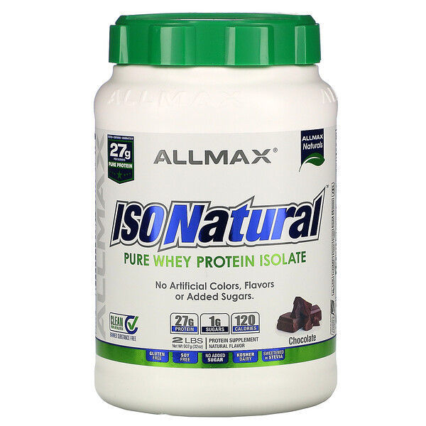 IsoNatural  Pure Whey Protein Isolate, Chocolate, 2 lbs (907 g)