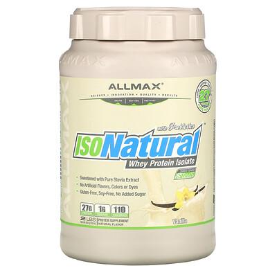 Купить ALLMAX Nutrition IsoNatural, 100% ультра-очищенный натуральный изолят сывороточного протеина, со вкусом ванили, 907 г