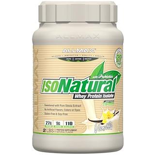 ALLMAX Nutrition, IsoNatura、100%ウルトラピュアナチュラルホエイプロテインアイソレート、バニラ、2ポンド (907 g)