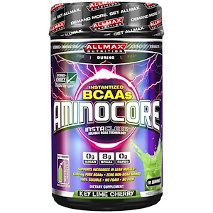 ALLMAX Nutrition, AMINOCORE, BCAA, 8G BCAAs, 100% Pure 45:30:25 Ratio, Gluten Free, Key Lime Cherry, 41.12 oz (1166 g)